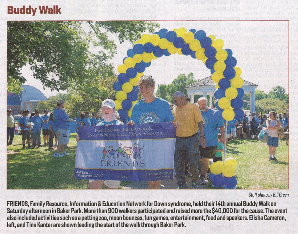 Click here to see the Frederick News Post article from Sun. Sept. 20, 2015 on the walk.